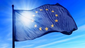 European Union flag waving on the wind